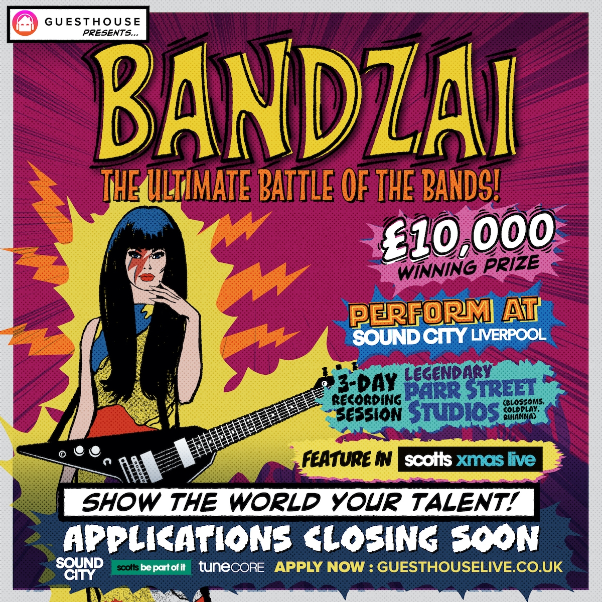 Sound City partners with scotts Menswear for Bandzai for Bandzai! The Ultimate Battle Of The Bands